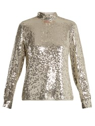 Vanessa Bruno Hena High Neck Sequinned Top Silver