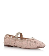 Valentino Rockstud And Lace Ballet Flats Female Nude