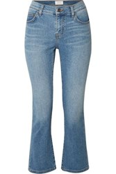 Current Elliott The Scooped Ruby Cropped Mid Rise Straight Leg Jeans Light Denim