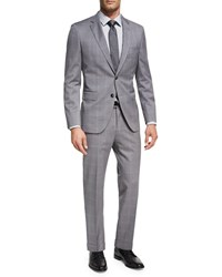 Boss Windowpane Check Two Piece Suit Light Gray