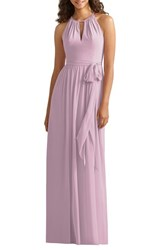 Women's Social Bridesmaids Halter Style Jersey And Chiffon Gown Suede Rose