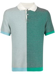 Pringle Of Scotland Textured Striped Polo Shirt 60