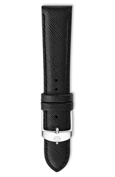 Michele 20Mm Saffiano Leather Watch Strap Jet Black
