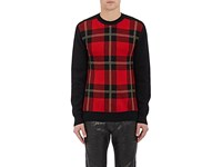 Balmain Men's Plaid Birdseye Knit Sweater No Color