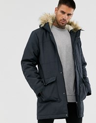 Only And Sons Parka With Borg Lined Hood Removable Faux Fur Navy