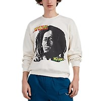 Madeworn Bob Marley Distressed Cotton Blend Sweatshirt White