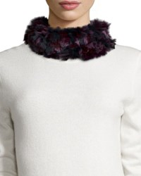 Gp Luxe Knitted Rabbit Fur Funnel Scarf Burgundy Camo
