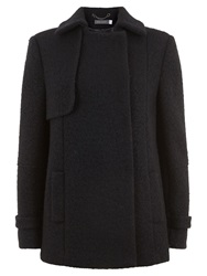Mint Velvet Boucle Pea Coat Black