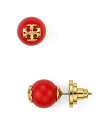 Tory Burch Round Logo Stud Earrings Coral