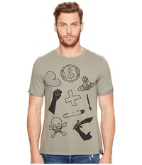 Vivienne Westwood Anglomania Lee Classic Mix Logo's T Shirt Military Green Men's T Shirt