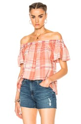 Ulla Johnson Amania Top In Checkered And Plaid Pink Checkered And Plaid Pink