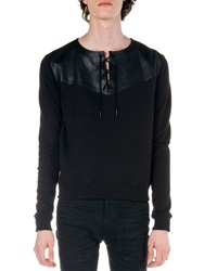 Saint Laurent Lace Up Sweatshirt Black