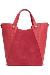 Halston Woven Leather And Suede Tote Crimson
