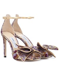 Jimmy Choo Karlotta 100 Brocade Sandals Purple
