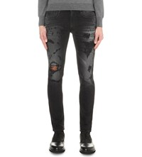 Replay Anbass Distressed Skinny Jeans Black