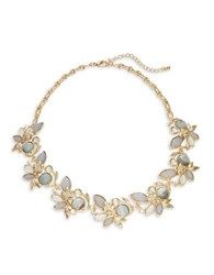 Robert Rose Floral Stone Collar Necklace Grey