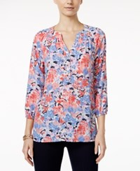 Charter Club Henley Blouse Floral Butterfly Print Floral Cloud