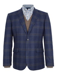 Paul Costelloe Tower Checked Wool Blend Slim Fit Blazer Blue