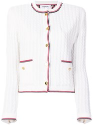 Thom Browne Cable Knit Cardigan Jacket White