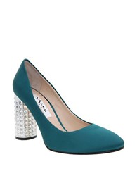 Nina Idabell Embellished Heel Satin Pumps Jade Green