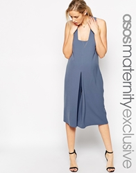 Asos Maternity Jumpsuit In Texture With Wide Leg Blue