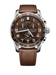 Victorinox Mens Classic Xls Stainless Steel And Leather Chronograph Watch Brown