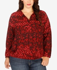 Lucky Brand Trendy Plus Size Printed Peasant Top Red Multi