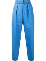 Cityshop Belted Peg Trousers Women Cotton Linen Flax Polyester 38 Blue