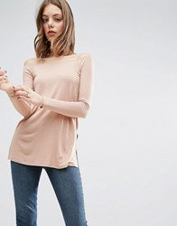 Asos Off Shoulder Slouchy Top With Side Split Nude Pink