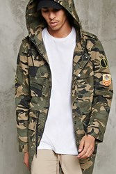 Forever 21 Patched Camo Utility Jacket Olive Black