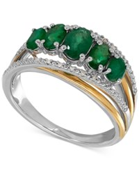 Macy's Emerald 1 1 4 Ct. T.W. And Diamond Accent Ring In Sterling Silver And 14K Gold