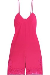 Maje Isadora Corded Lace Trimmed Crepe Playsuit Fuchsia