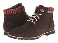 Woolrich Beebe Leather Java Red Plaid Wool Women's Boots Brown