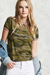Forever 21 Camo Print Ringer Tee Olive Brown