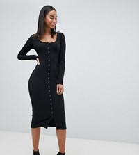 Missguided Tall Button Down Midi Dress Black