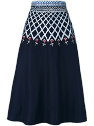 Temperley London 'Poppy Field' Midi Skirt Women Cotton 10 Blue