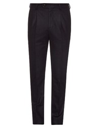 Brunello Cucinelli Slim Fit Pleated Flannel Wool Trousers