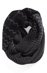 Women's Halogen Chevron Jacquard Wool And Cashmere Infinity Scarf Black Black Combo