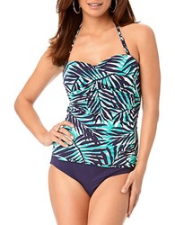 Anne Cole Palm Print Twist Front Tankini Top Navy Blue