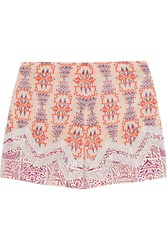 Etro Lace Paneled Printed Silk Crepe Shorts Pink