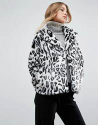 Helene Berman Faux Fur Leopard Print Collared Revere Coat Grey White Multi