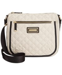 Calvin Klein Nylon Quilted Messenger Off White Black
