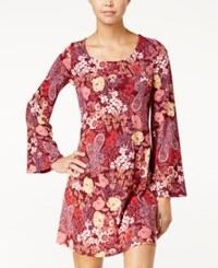 American Rag Printed Bell Sleeve Shift Dress Only At Macy's Zinfandel Combo
