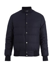 Thom Sweeney Wool Blend Quilted Down Bomber Jacket Navy