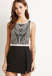 Forever 21 Geo Pattern Crop Top Taupe Black