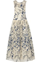 Mikael Aghal Embroidered Tulle Gown White