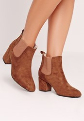 Missguided Low Heel Chelsea Ankle Boot Tan Brown