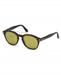 Tom Ford Newman Round Shiny Acetate Sunglasses Dark Havana