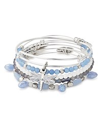 Alex And Ani Dragonfly Expandable Wire Bangles Set Of 5 Blue Silver