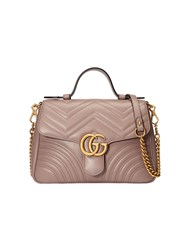 Gucci Gg Marmont Small Top Handle Bag Leather Metal Microfibre Pink Purple